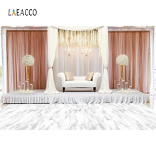 лучшая цена Laeacco White Floor Flowers Sofa Curtain Wedding Portrait Photocall Customized Photography Background Digital Photo Studio