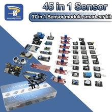 45 em 1 módulos de sensores 16 tipos starter kit para arduino raspberry pi, melhor do que 37 em 1 com caixa diy uno r3 mega2560
