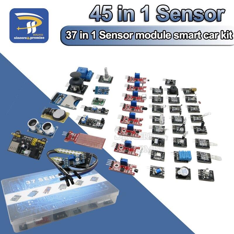 45 in 1 Sensors Modules 16 Kinds Starter Kit For Arduino Raspberry Pi , better than 37 in 1 Sensor DIY Kit UNO R3 MEGA2560(China)