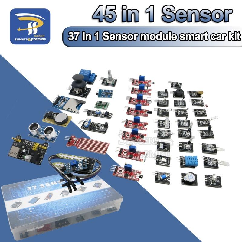 Modules de capteurs 45 en 1 Kit de démarrage 16 types pour Arduino Raspberry Pi, mieux que 37 en 1 avec boîte bricolage UNO R3 MEGA2560