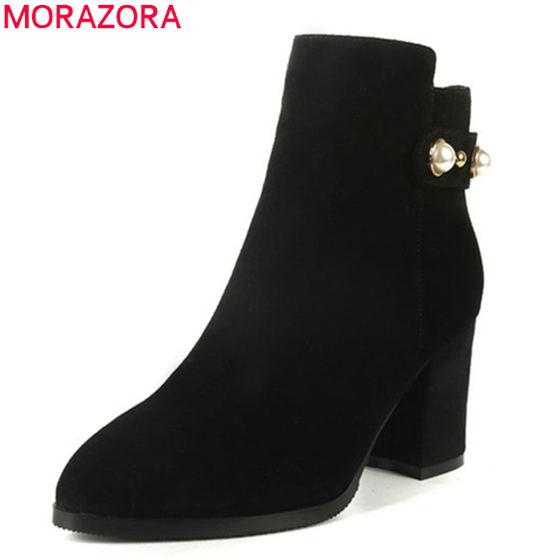 MORAZORA 2018 top quality suede leather lady boots zip pearl fashion boots pointed toe autumn ankle boots women shoes size 34-40 women fashion ankle boots top quality suede autumn slip on pointed toe flats punk suede biker boots ladies shoes wholesales
