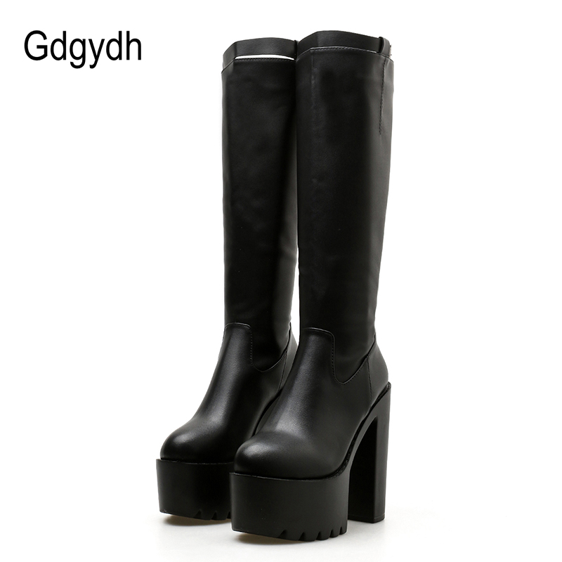 fddf121c12c Detail Feedback Questions about Gdgydh 2018 Women Winter Knee High Boots  Zipper Black Women PU Leather Boots Female High Heels Round Toe Long Boots  ...
