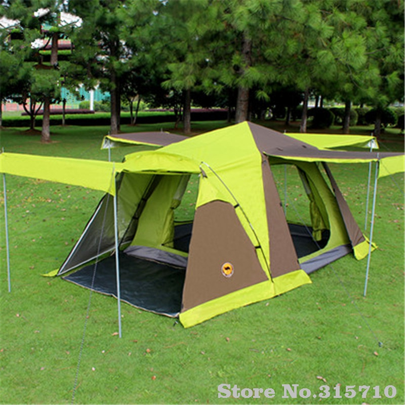 Automatic 3-4 people camping tent with skirt have 4doors include one set of front poles anti rain big family hiking tent outdoor camping hiking automatic camping tent 4person double layer family tent sun shelter gazebo beach tent awning tourist tent