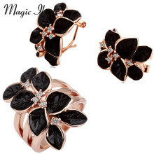 Magic Ikery Fashion Jewelry Rose Gold Plated Crystal Trendy Crystal Jewelry Sets with Earring ring for women MKZ1223