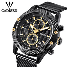 2018 Mens Watches Sport Chronograph Fashion Luxury Brand Genuine Leather   And Stainless Mesh Band Men Wristwatch Quartz Watch baogela chronograph black new watches mens quartz watch stainless steel mesh band slim men watch student sports wristwatch