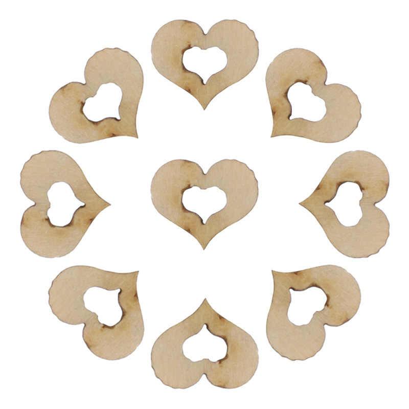 100 pçs em branco mini oco coração de madeira enfeites artesanato decoração do casamento 10mm may4
