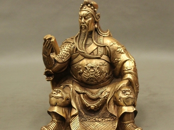 Famous Chinese Copper Brass General Dragon GuanGong GuanYu God Look Book Statue statue