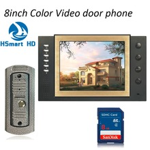 FREE Shipping New 8 inch Video Intercom Apartment Door Phone System 8GB SD Card Video Recording Monitors With 700TVL IR Camera