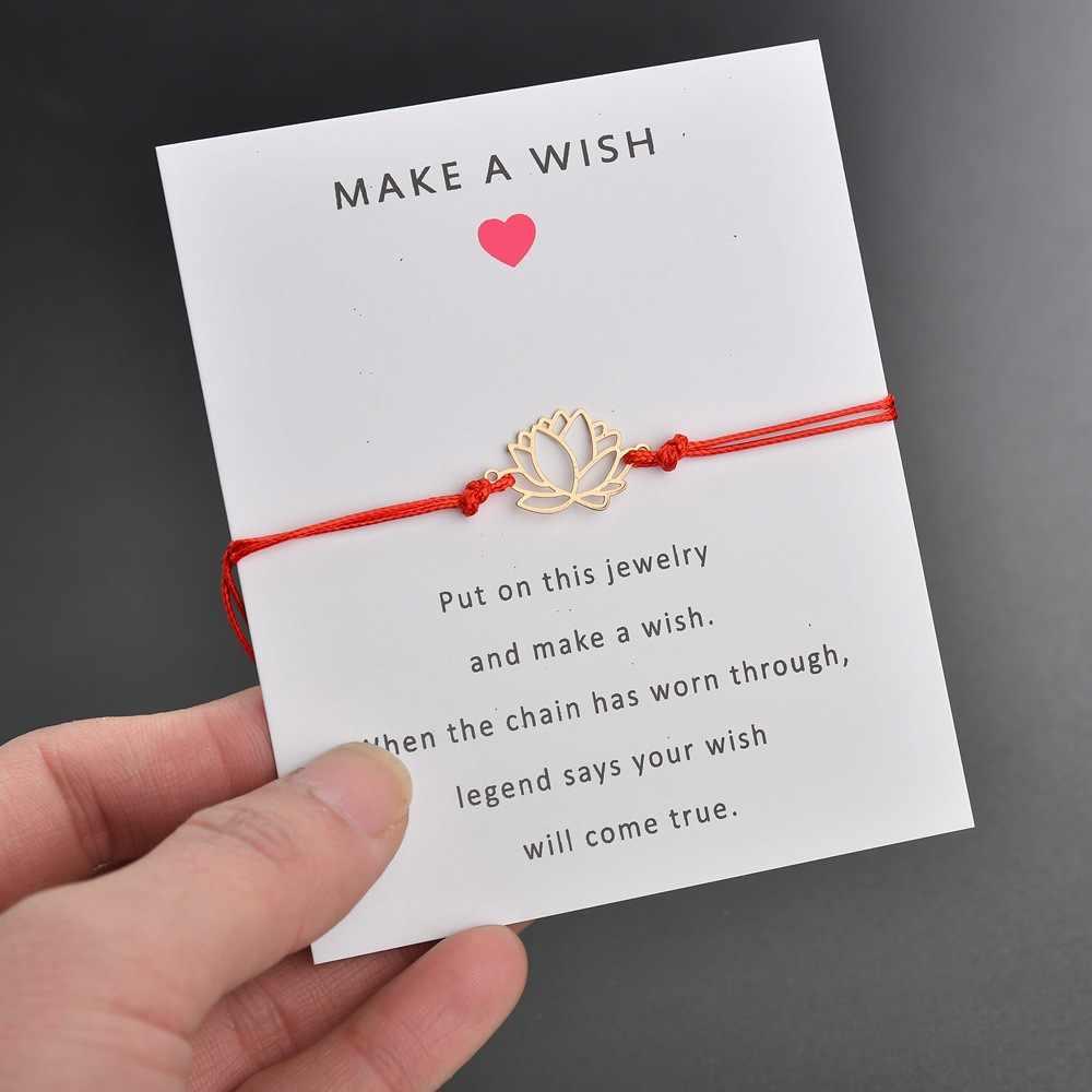 2019 ใหม่ Make A Wish การ์ดปรับสร้อยข้อมือทองสี Lotus จี้ดอกไม้โรแมนติก 7 สีเชือกสร้อยข้อมือผู้หญิง