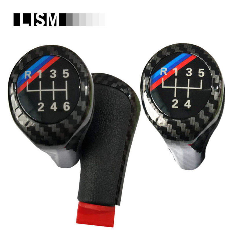 M Logo Carbon Fiber Gear Shift Knob for BMW 1 3 5 6 Series E46 E53 E60 E61 E63 E65 E81 E82 E87 E90 E91 E92 E30 E38 E39 E83 E84