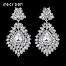 Mecresh Silver Color Crystal Wedding Bridal Drop Earrings for Women Big Teardrop Long Earrings Brides Engagement Jewelry MEH916(China)