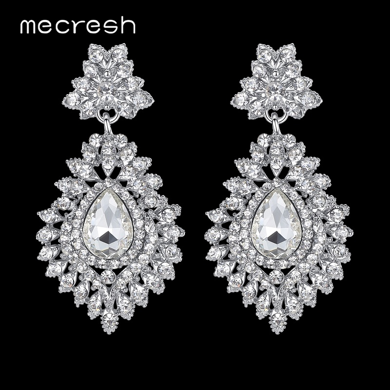 Mecresh Silver Color Crystal Wedding Bridal Drop Earrings for Women Big Teardrop Long Earrings Brides Engagement Jewelry MEH916
