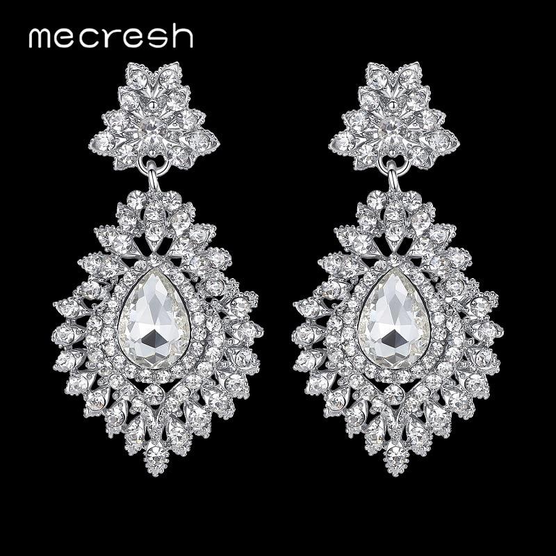 Mecresh Silver Color Crystal Wedding Bridal Drop Earrings for Women Big Teardrop Long Earrings Brides Engagement Jewelry MEH916