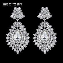 Mecresh Flower Crystal Long Drop Earrings for Women Silver Color Big Teardrop Bridal Pendant Brincos 2017 Wedding Jewelry MEH916