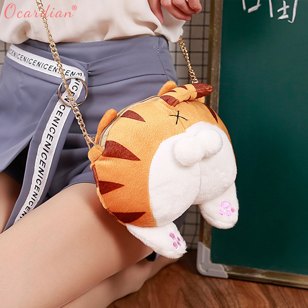Ocardian 2017 Hot Sale Cute Cat Butt Tail Plush Handbag Crossbody Shoulder Bags Purse Master Designer Dropship 171013