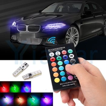 100PCS RGB T10 W5W Led 194 168 5050 SMD Car Dome Reading Light Automobiles Wedge Lamp LED Bulb With Remote Controller