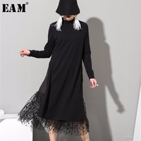 [EAM] 2019 New Spring High Collar Long Sleeve Gauze Split Joint Two False Long Black Red Dress Women Fashion Tide 800011