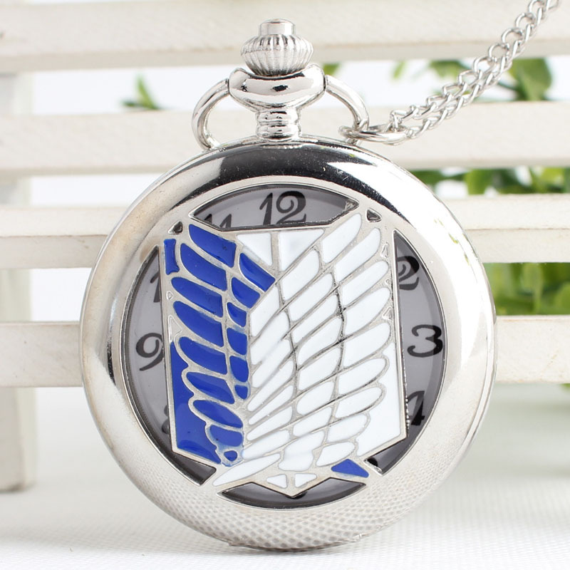 Unisex Unique Design Bronze Attack on Titan Wings of Liberty Clamshell Quartz Pocket Watch Watch Gift TPB032