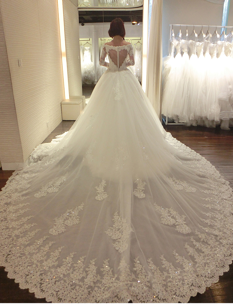 long sleeves ivory lace tulle wedding dress pwedsku train wedding dress Long Sleeves Ivory Lace Tulle Long Train Wedding Dress