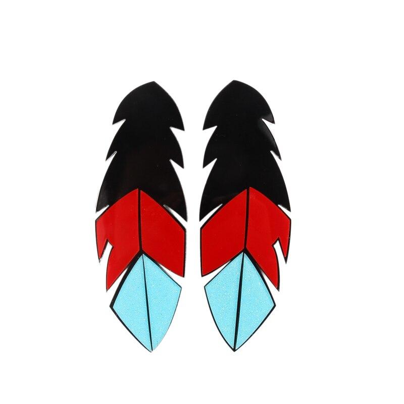 European Fashion Club Jewelry Design Exaggerate Hip Hop Big Acrylic Feather Earrings Feamel Stud Earrings
