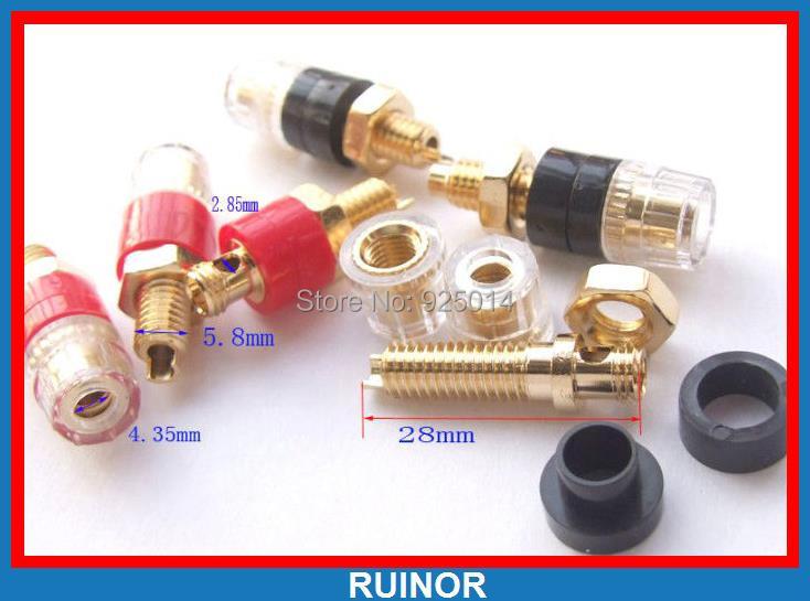 где купить 50PCS mini Copper Binding Post FOR Banana plug socket Power Amplifier Speakers по лучшей цене