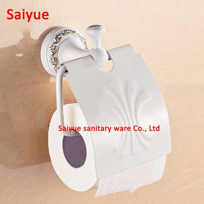 Gold White Toilet Paper Holder with elegant carving pattern Tissue Holder,Roll Holder Solid Brass -Bathroom Accessories Products