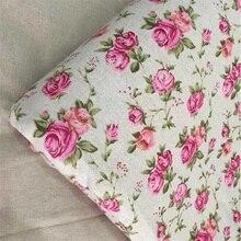 Хлопок Лен швейная ткань цветочный принт Лоскутная Ткань Сделай Сам Лоскутное шитье тканый материал домашний текстиль Sofacover скатерть ремесло