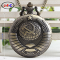 Free shipping New Soviet Sickle hammer Style Quartz Pocket Watch Men women Vintage Bronze Pendant DS015