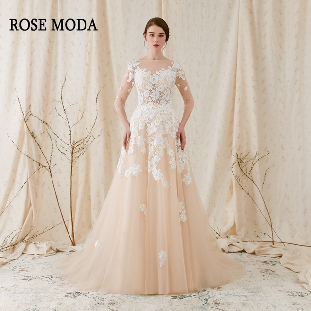Rose Moda French Lace Wedding Dress 2019 with Long SLeeves Champagne Wedding Dresses with Ivory Lace Appliques Real Photos