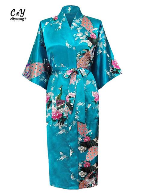 Nueva Largo Sheer Japonés Bata Bata de Satén Camisón De Las Mujeres Kimono de la ropa de La Flor Trajes Atractivos Más Tamaño M-XXXL HJ_09