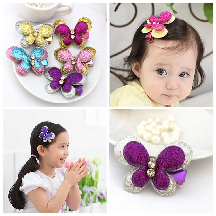 1pcs New Fashion Glitter Butterfly Shape Children Headdress Girls Cute Hair Clips Headwear Kids Hairpins Baby Hair Accessories butterfly shell pearl camellia hairpins new retro edge hair clips hair ornaments headdress girls hair accessories for women 1pcs