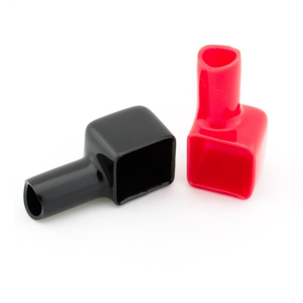 2pcs Square Motorcycle Battery Terminals Rubber Covers Red&Black Universal fit for Bike Scooter for Kart ATV