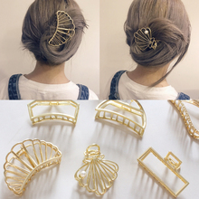 New Fashion Hollow Out Shell Hair Claw For Women Moon Shape Gold Metal Barrette Hair Clamps Accessories