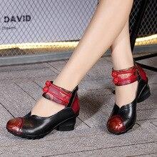 Этническая обувь Китай Женщины мягкое дно мама грубые женские кожаные туфли Сандалии-гладиаторы женские туфли-лодочки натуральная кожа