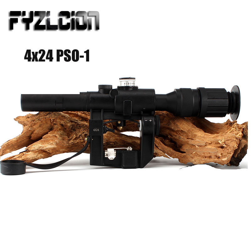 Tactical Hunting Red Dot Riflescope 4x24 PSO-1 Type Scope For Dragonov SVD AK Riflescope Scope Sniper Rifle Series Optical Sight ohhunt tactical red illuminated 4x24 pso 1 type riflescope for dragonov svd sniper rifle series ak rifle scope for hunting