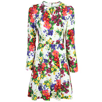 Women fashion colorful floral print dress designer runway brand long sleeve a line ruched dresses new 2018 spring autumn