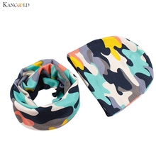 Fashion Multicolor Cartoon Print font b Kid b font Children Autumn Winter Cotton Hat Scarf Set
