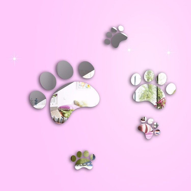 Set of 5 Sweet Baby feet 3D crystal decorative wall <font><b>stickers</b></font> Mirror, acrylic mirror <font><b>sticker</b></font> for child baby bedroom