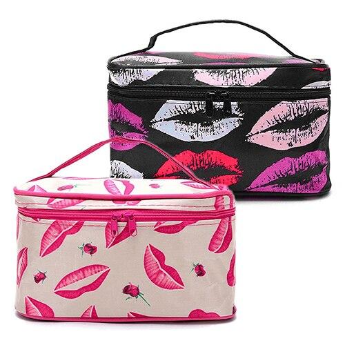النساء الشفاه نمط سفر أدوات الزينة ماكياج التجميل حقيبة منظم مع مرآة