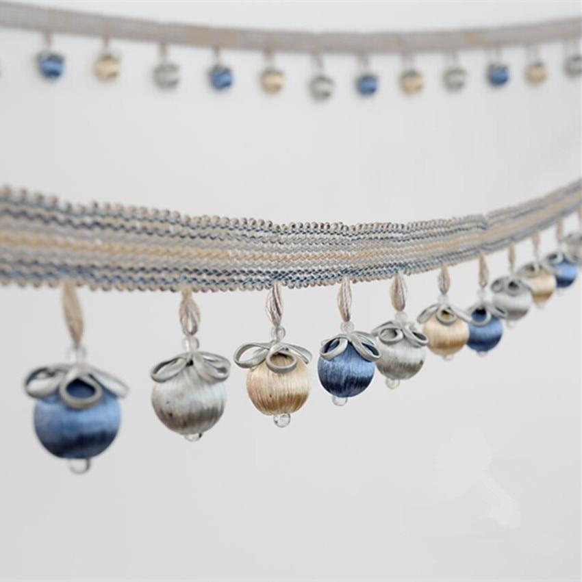 6 M/lot 6.5 cm large perle rideau dentelle accessoires gland franges ruban d'habillage bricolage pour rideau canapé nappe couture décor à la maison