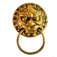 Fengshui Gold Round Chinese Chi Lin Traditional Door Handle Vintage Style SKU J2047