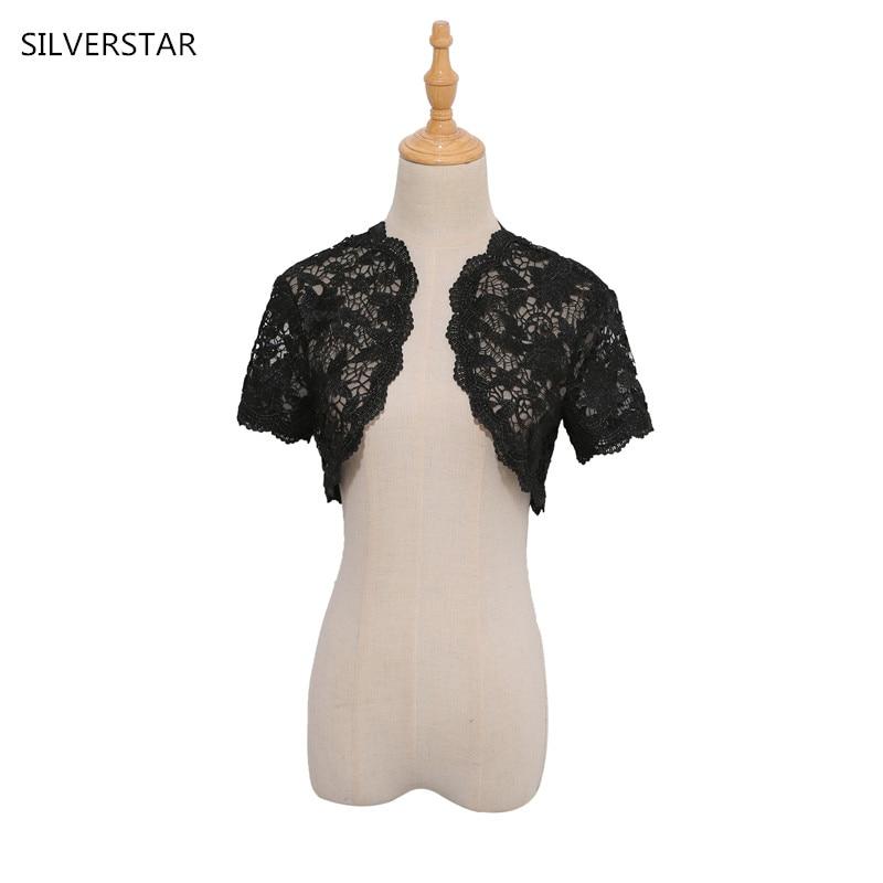 mejor baratas c818b c8481 € 24.77  Las mujeres elegantes de la boda chaqueta Bolero negro nupcial del  cordón del Bolero Cardigan chaqueta de la boda del encogimiento de hombros  ...