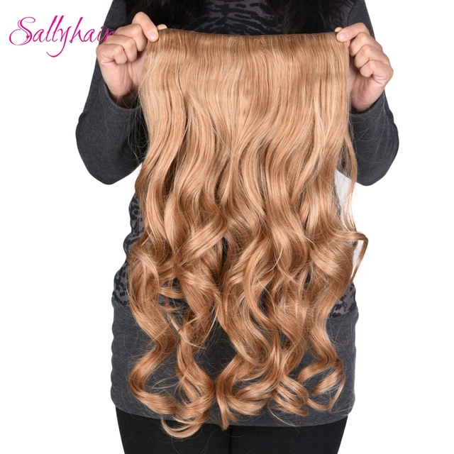 Sallyhair 190g 24inch 4 Clips In Long Wavy Hairpiece Synthetic Hair