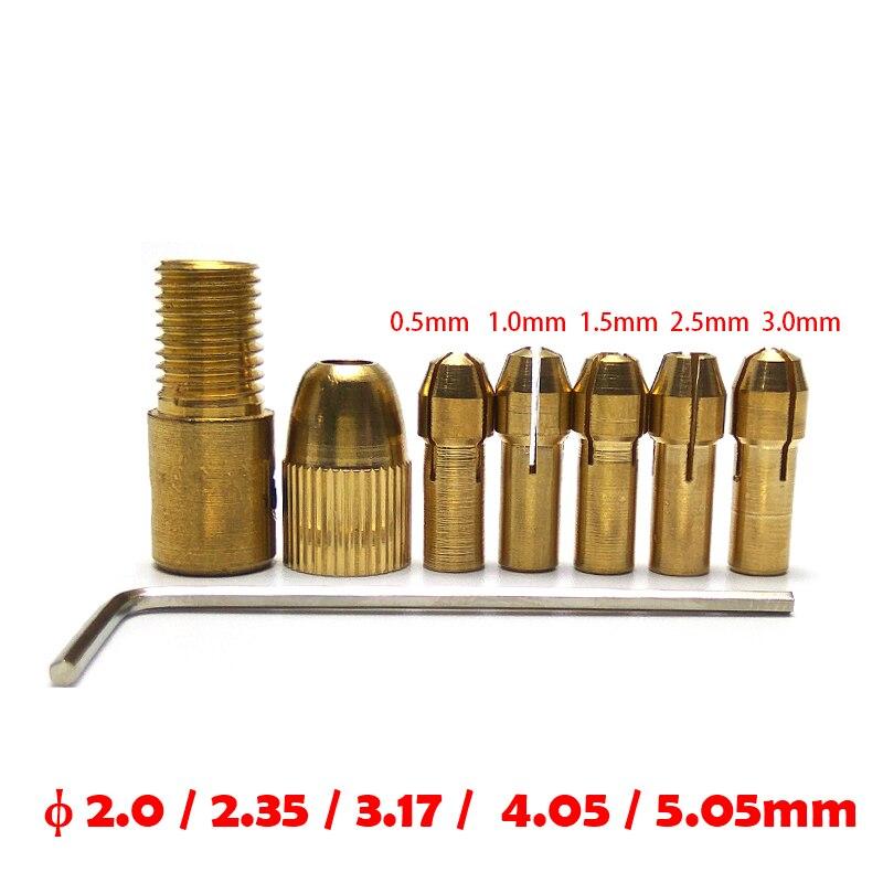 7Pcs/set 0.5-3.0MM Mini Drill Collet Set Micro Twist Electronic Chuck Keyless Adapter With 1PC Wrench Chucks Socket
