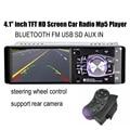Nuevo 4.1 pulgadas TFT de pantalla HD cámara de vista trasera apoyo coche reproductor de audio del coche de radio bluetooth USB/SD w/remoto del volante control