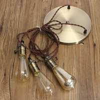 New E27 Retro Vintage Industrial Loft Copper Pendant Ceiling Edison Light Lamp Base Holder Hanging Lampshade