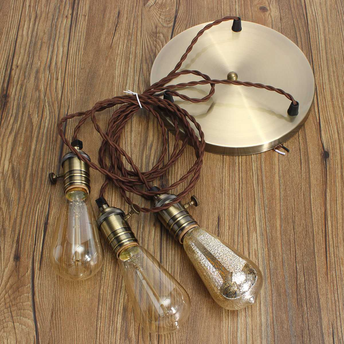 Lamp Base E27 Retro Vintage Industrial Loft Pendant Ceiling Edison Light Lamp Base Holder Hanging Lampshade