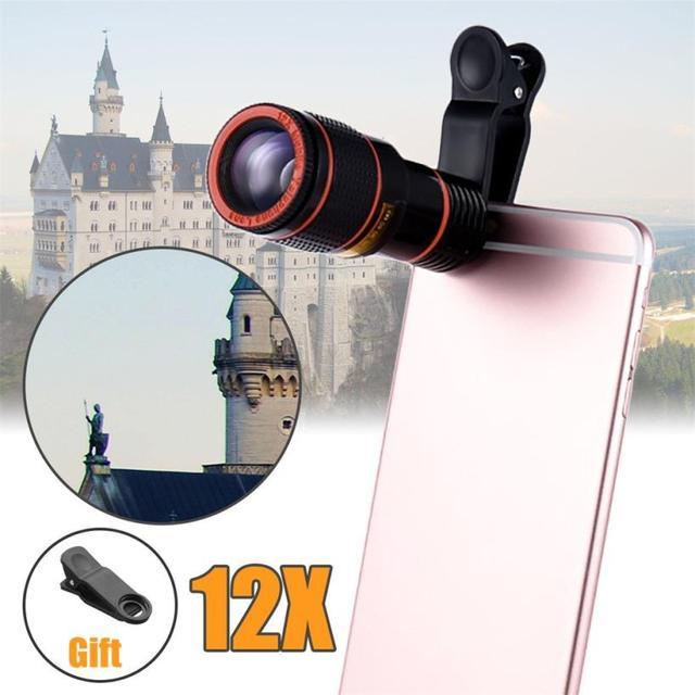 HD 12x אופטי זום המצלמה טלסקופ עדשה עם קליפ עבור iPhone/טלפון אוניברסלי עדשת DSLR אוניברסלי מוצר נייד טלפון