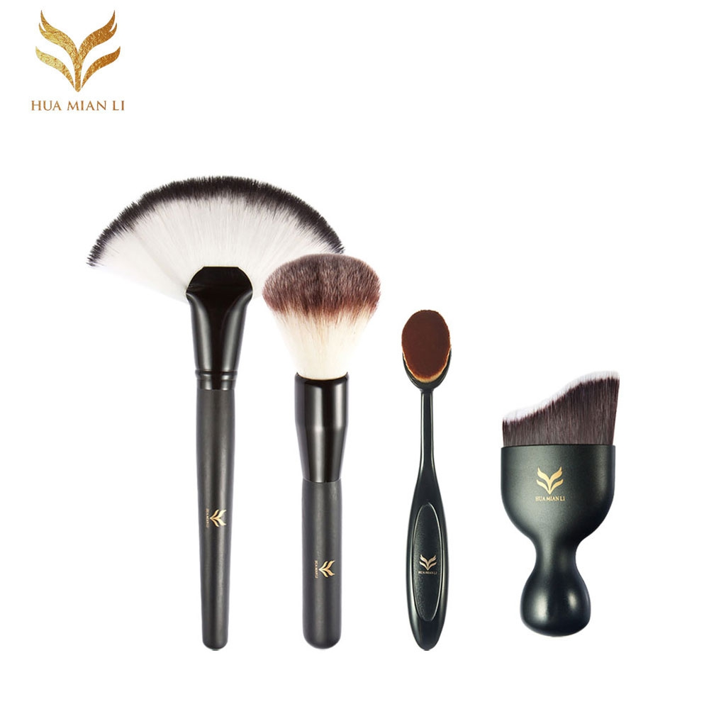 HUAMIANLI 4Pcs Soft Makeup Brushes Set Black Wooden Handle Naked Maquiagem Tools Professional for Face Powder Make Up Brush 22p01 professional makeup brushes soft sokouhou goat hair face powder brush black handle cosmetic tools make up brush