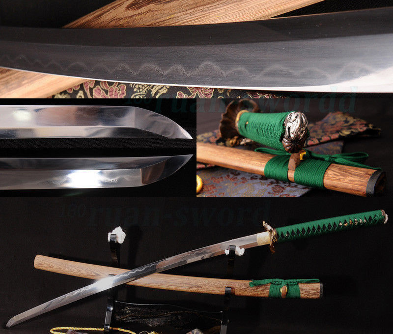 Clay Tempered Folded Steel Blade Frog Tsuba Japanese Samurai Sword Katana SHARP